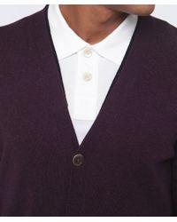 Paul Smith - Purple Contrast Trim Cardigan for Men - Lyst
