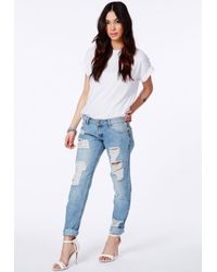 Missguided Dylan Ripped Boyfriend Jeans In Light Vintage in Blue ...