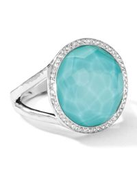 Ippolita | Blue Stella Lollipop Ring In Turquoise Doublet With Diamonds | Lyst