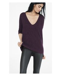 Express - Purple Currant Metallic London Tunic Sweater - Lyst