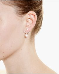 Yvonne Léon | White 18K Gold, Pearl And Pear Diamond Lobe Earring | Lyst