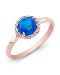 Anne Sisteron | Metallic 14kt Rose Gold Blue Opal Diamond Solitaire Ring | Lyst
