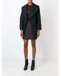 Carven - Black Belted Double Breasted Coat - Lyst