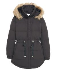 Mango - Black Detachable Hood Quilted Coat - Lyst