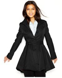 Betsey Johnson - Black Flared Trench Coat - Lyst