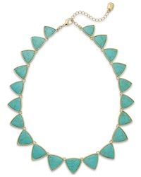 Lauren by Ralph Lauren - Blue Gold-Tone Reconstituted Turquoise Graduated Necklace - Lyst