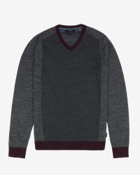 Ted Baker | Gray Color Block V-neck Sweater for Men | Lyst