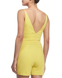 David Koma - Yellow Sleeveless V-neck Crepe Jumpsuit - Lyst