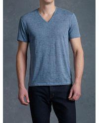 John Varvatos - Blue Burnout V-Neck Tee for Men - Lyst