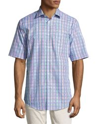 Neiman Marcus - Multicolor Classic-fit Houndstooth Short-sleeve Sport Shirt for Men - Lyst