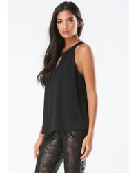 Bebe - Black Jewel Accent Pleated Top - Lyst