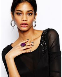 Lipsy | Purple Rectangular Stone Cocktail Ring | Lyst