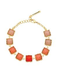 T Tahari - Metallic Goldtone Coral Stone Linked Flex Bracelet - Lyst