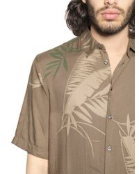 DIESEL | Green Leaf Printed Viscose Flannel Shirt for Men | Lyst
