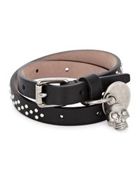 Alexander McQueen - Black Stud Wrap Leather Bracelet for Men - Lyst