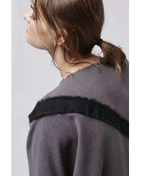 TOPSHOP | Gray Contrast Grograin Sweatshirt | Lyst