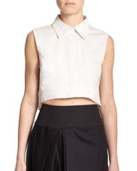 MILLY - Natural Sleeveless Cropped Top - Lyst