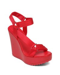 BCBGeneration | Red Casper Nylon Platform Wedge Sandals | Lyst
