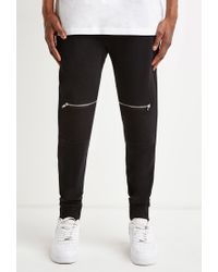 Forever 21 - Black Zippered Moto Sweatpants for Men - Lyst