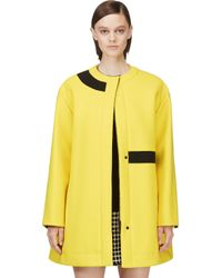 KENZO - Yellow and Black Textured Crepe Double Face Coat - Lyst