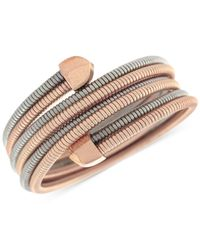 BCBGeneration | Pink Two-tone Coil Stretch Wrap Bracelet | Lyst