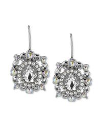 Betsey Johnson - Metallic Silvertone Crystal and Imitation Pearl Oval Drop Earrings - Lyst