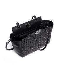 Valentino - Black 'rockstud Noir' Mini Leather Tote - Lyst