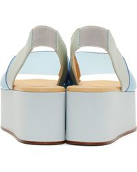 MM6 by Maison Martin Margiela - Blue Pvc And Leather Flatform Sandals - Lyst