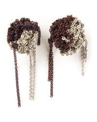 Arielle De Pinto | Purple Chain Bundle Bicolour Earrings | Lyst