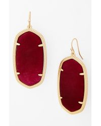 Kendra Scott | Metallic 'danielle - Large' Oval Statement Earrings - Maroon Jade | Lyst