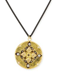 Armenta - Metallic Midnight Gold Diamond Shield Pendant Necklace 30l - Lyst