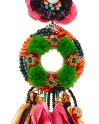 Ranjana Khan - Green Pom-pom Clip-on Drop Earrings - Lyst