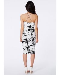 Missguided - Black Ybanez Monochrome Palm Print Midi Dress - Lyst