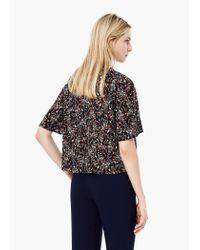 Mango | Black Floral Print Blouse | Lyst