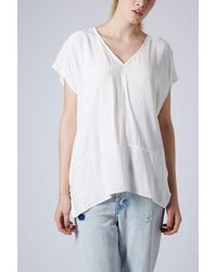 TOPSHOP - White Oversized Casual V Front Tunic - Lyst