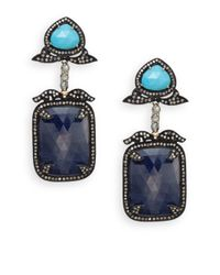 Bavna | Blue Sapphire, Turquoise, Multicolor Diamond & Sterling Silver Drop Earrings | Lyst