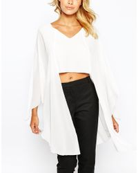 Love - Natural V Neck Top With Longline Fluted Sleeve - Lyst