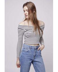 293671e58efa8 Lyst - TOPSHOP Petite Bardot Stripe Top in Blue