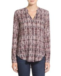 Velvet By Graham & Spencer | Brown Split Neck Popover Top | Lyst