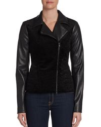 Bailey 44 - Black Mixed Media Motorcycle Jacket - Lyst
