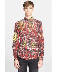 Versace Jeans - Purple Trim Fit Scribble Print Sport Shirt for Men - Lyst