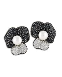 Kenneth Jay Lane | Black Hematite Flower Clip Earring | Lyst