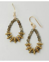 Wendy Mink | Metallic Labradorite Beaded Teardrop Hoop Earrings | Lyst