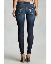 True Religion | Blue Hand Picked Super Skinny Crystal Logo Womens Jean | Lyst