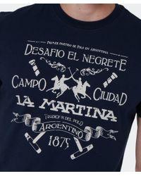 La Martina   Blue Logo T-shirt for Men   Lyst