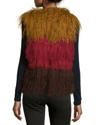 Anna Sui - Multicolor Color-Blocked Fur Vest - Lyst
