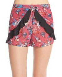 Band Of Gypsies | Multicolor Floral Ruffle Shorts | Lyst