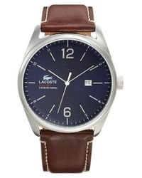 Lacoste | Blue 'austin' Leather Strap Watch for Men | Lyst