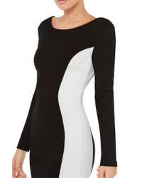 AKIRA - Hourglass Black White Contrast Midi Dress - Lyst