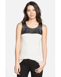 NIC+ZOE | Metallic 'chalet' Faux Leather Yoke Tank | Lyst